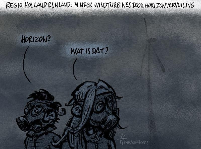 Cartoon Maarten Wolderink: Windmolens en horizonvervuiling