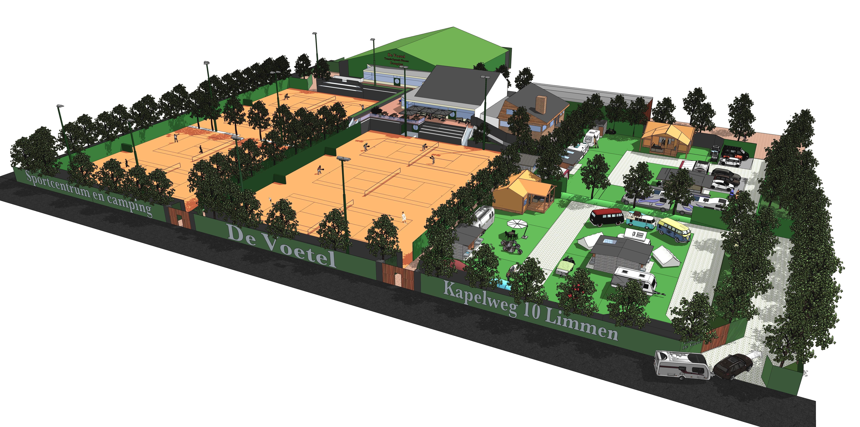 De luxe camping op tennispark De Voetel in Limmen mag er komen en het ontwerp is klaar