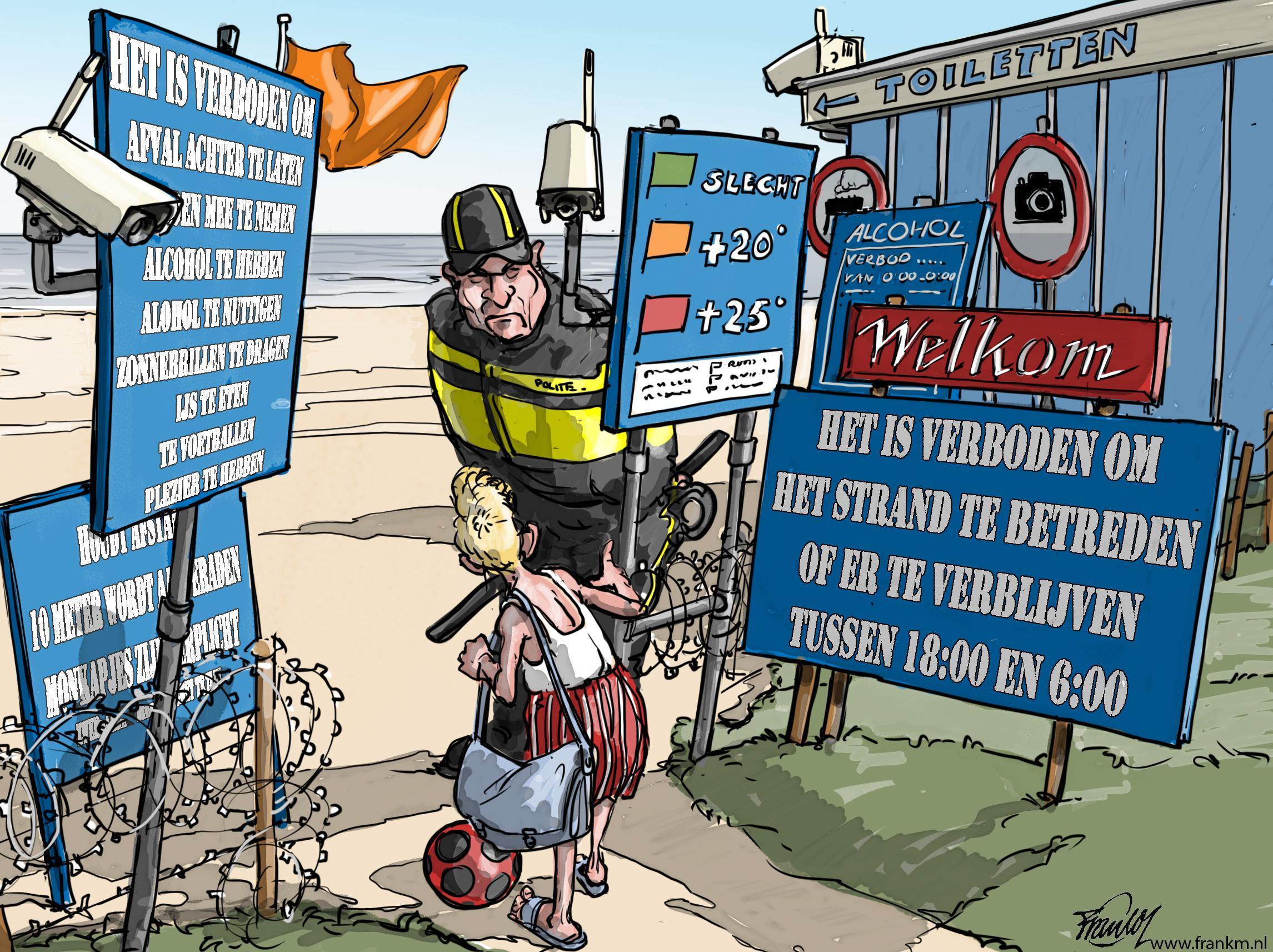 Gezellig naar het strand van Blaricum! Dat wordt een feest deze zomer | cartoon Frank Muntjewerf