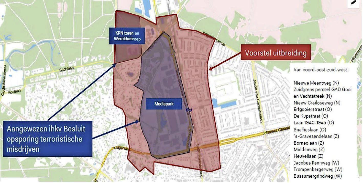 Politie mag ook in de delen van Trompenberg en Noord mensen fouilleren en tassen en auto's doorzoeken. 'Risicogebied' niet beperkt tot Mediapark
