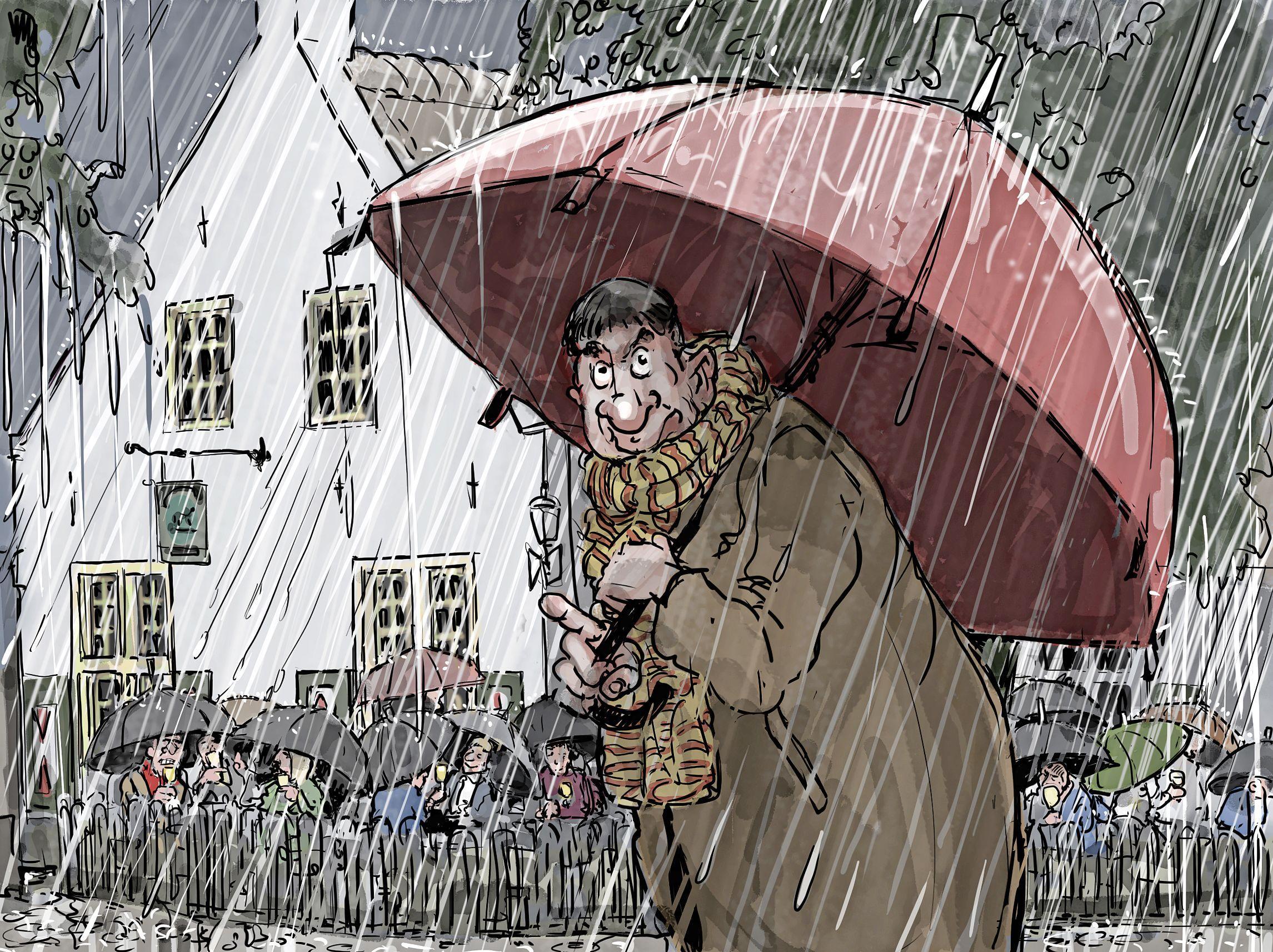 Collectief genieten van herwonnen vrijheid op ijskoude terrassen | cartoon Frank Muntjewerf