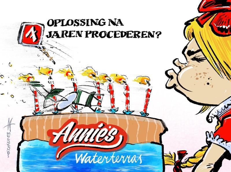 Cartoon van Maarten Wolterink: Compromis Annie's waterterras