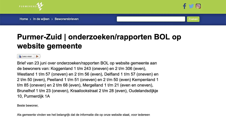 Rapporten op Purmerend.nl voldoen niet aan de richtlijnen voor blinden en slechtzienden, gemeente haalt ze offline: anders kost het 'veel tijd en (dus) geld'