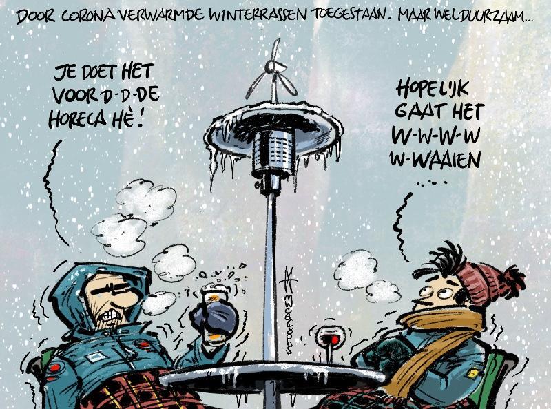 Na lockdown duurzame winterterrassen | cartoon