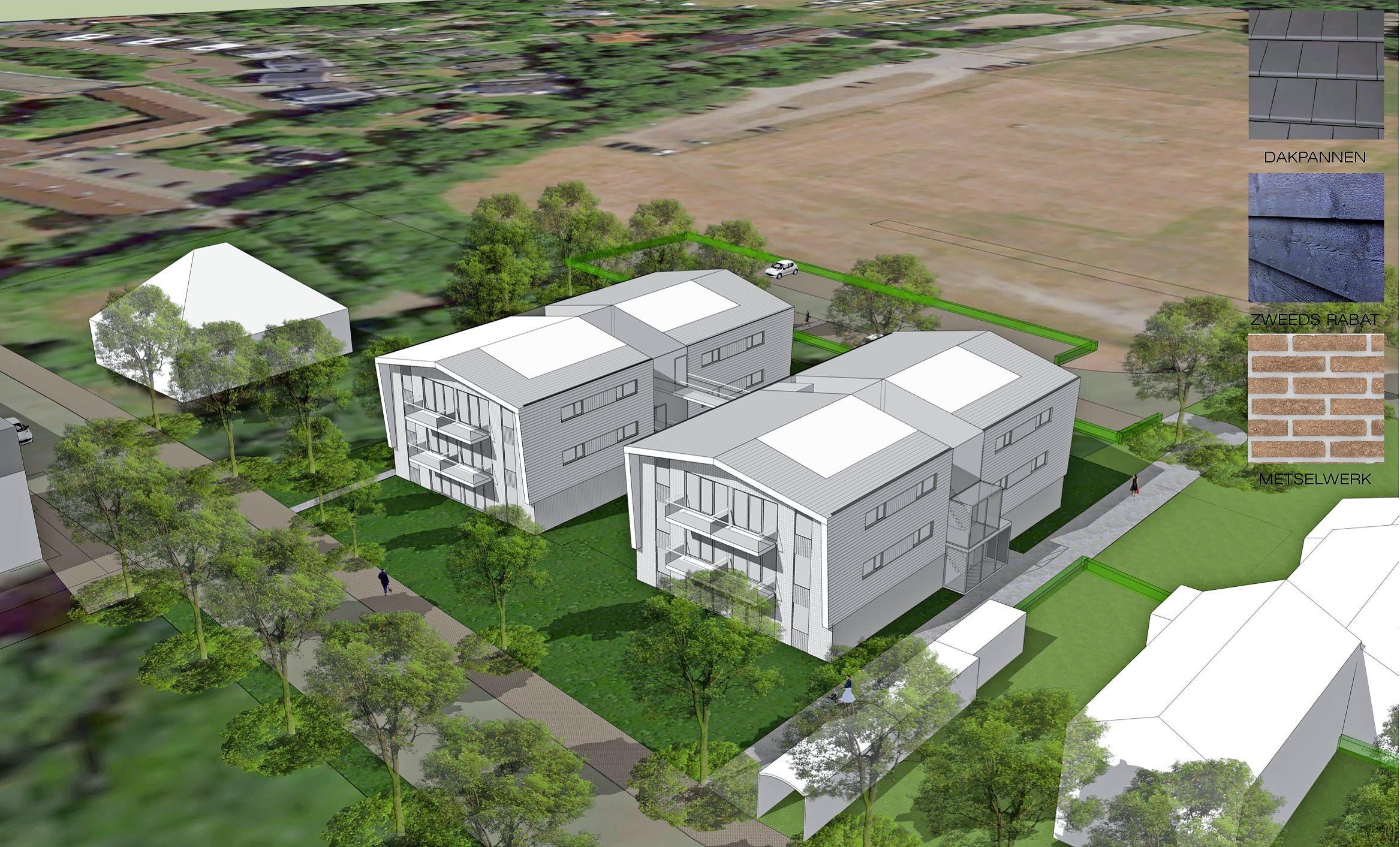 Wat moet er op de plek van de voormalige Rabobank in Schoorl komen? De gemeente Bergen legt drie plannen voor met 22 sociale huurwoningen