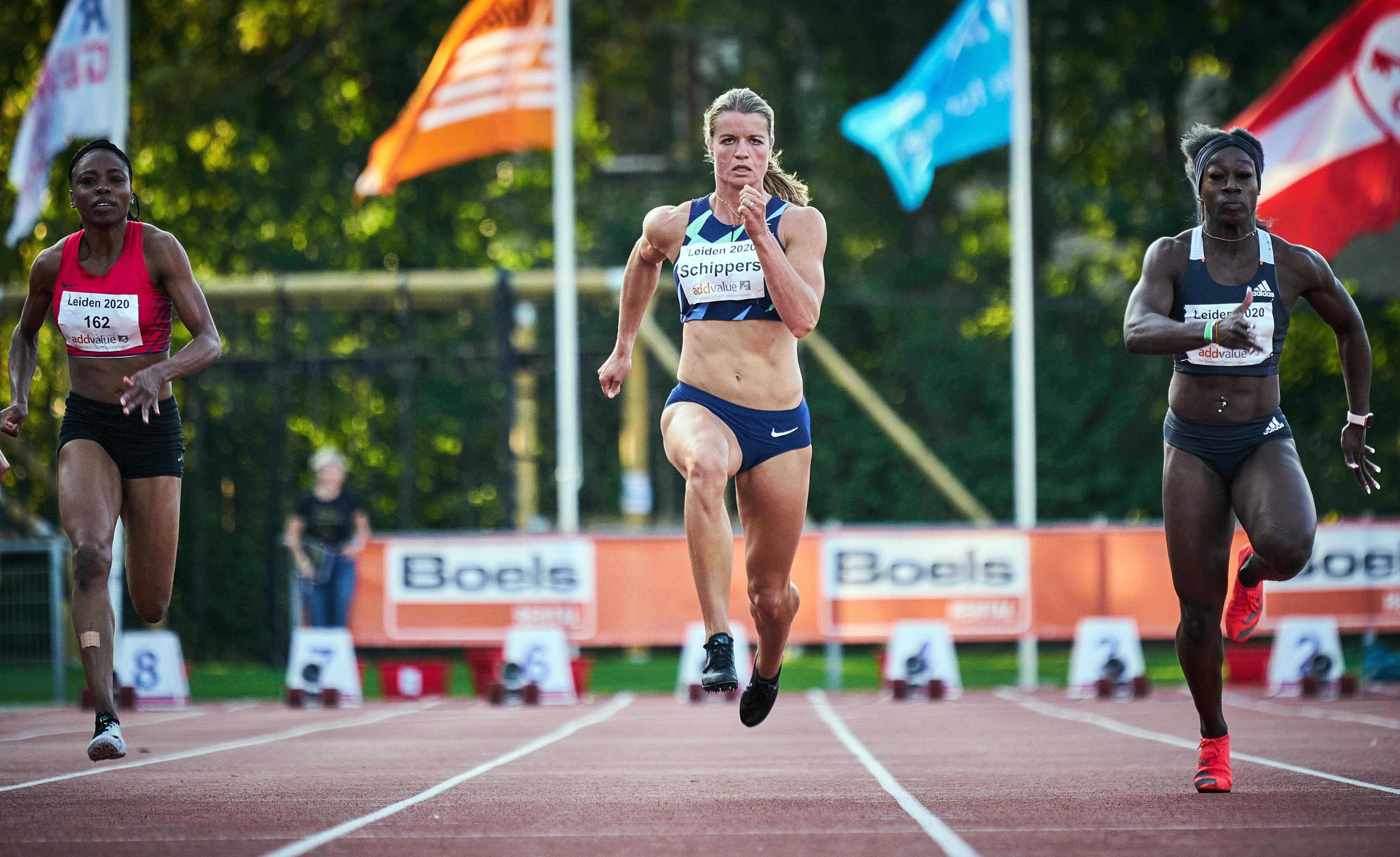 Zege Schippers op 100 meter bij Gouden Spike in Leiden