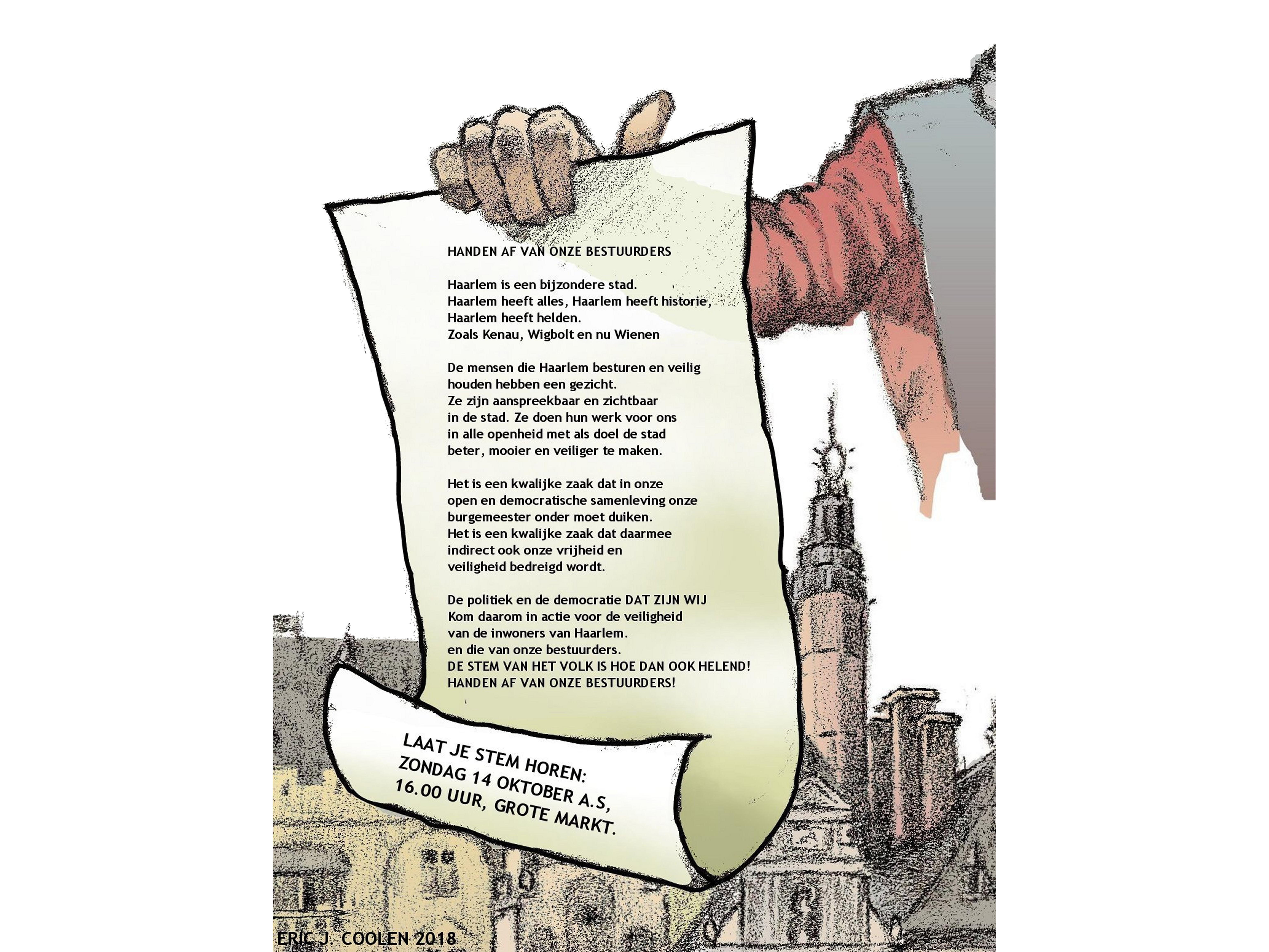 Demonstratie tegen bedreiging burgemeester Haarlem