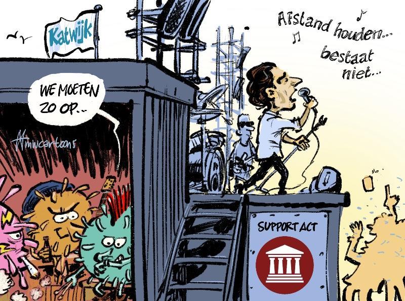 Thierry warmt Katwijk op | Cartoon Maarten Wolterink