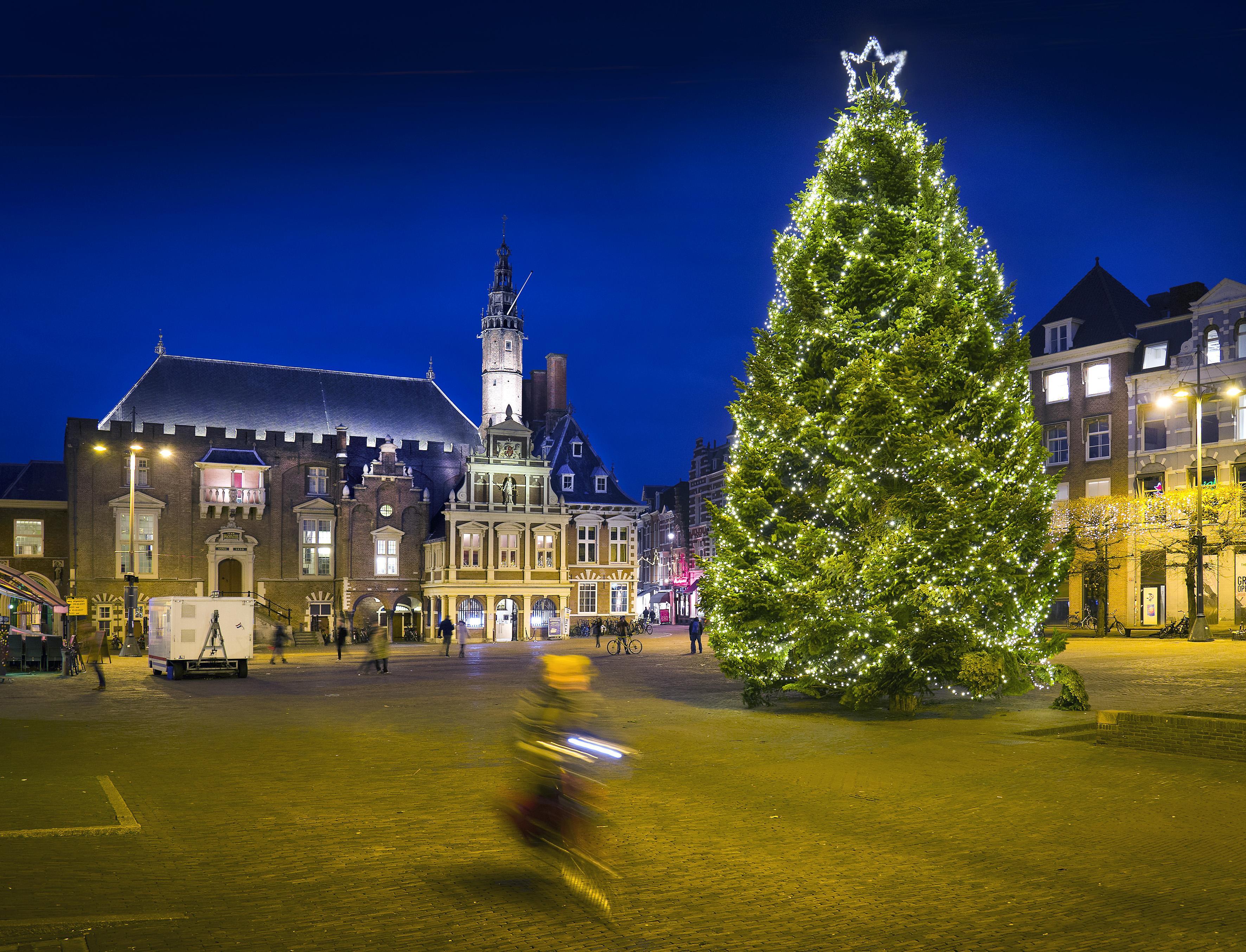 De kerstboom van de Grote Markt in Haarlem is inmiddels parfum