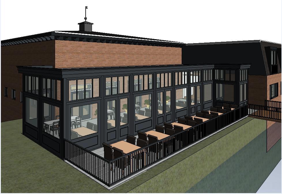 Krijgt de vernieuwde Alkeburcht in Roelofarendsveen er een serre met terras bij voor ontbijt, lunch en diner?
