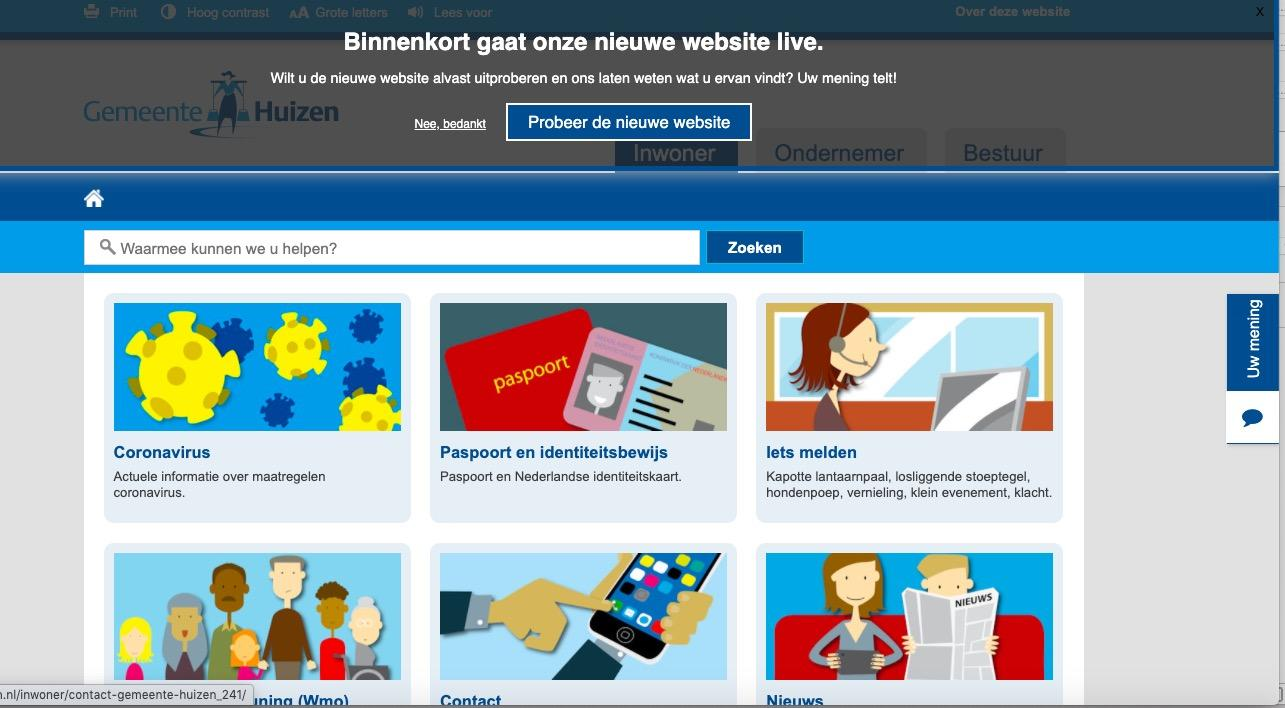 Testversie nieuwe websites gemeente Huizen. Inwoners wordt gevraagd om hun mening