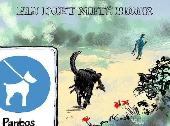 Cartoon: Reebokjes en loslopende honden in Katwijkse Panbos