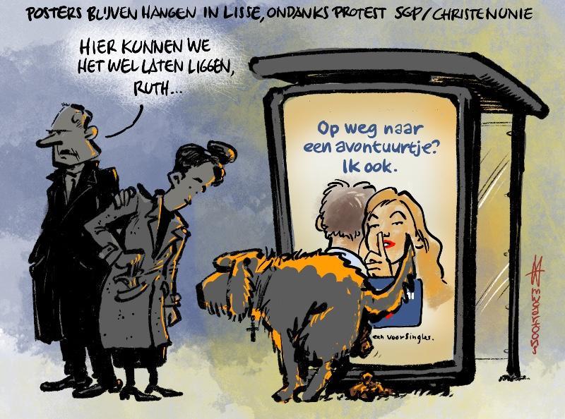 Cartoon Maarten Wolterink: Stoute posters mogen blijven hangen