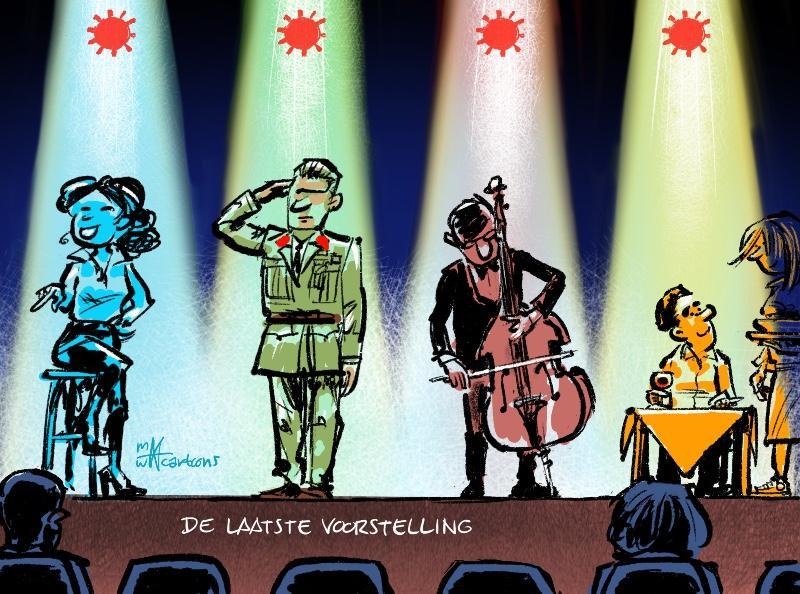 Cartoon Maarten Wolterink: De laatste voorstelling