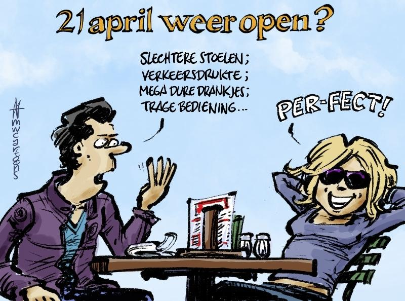 Terrassen weer open? | cartoon