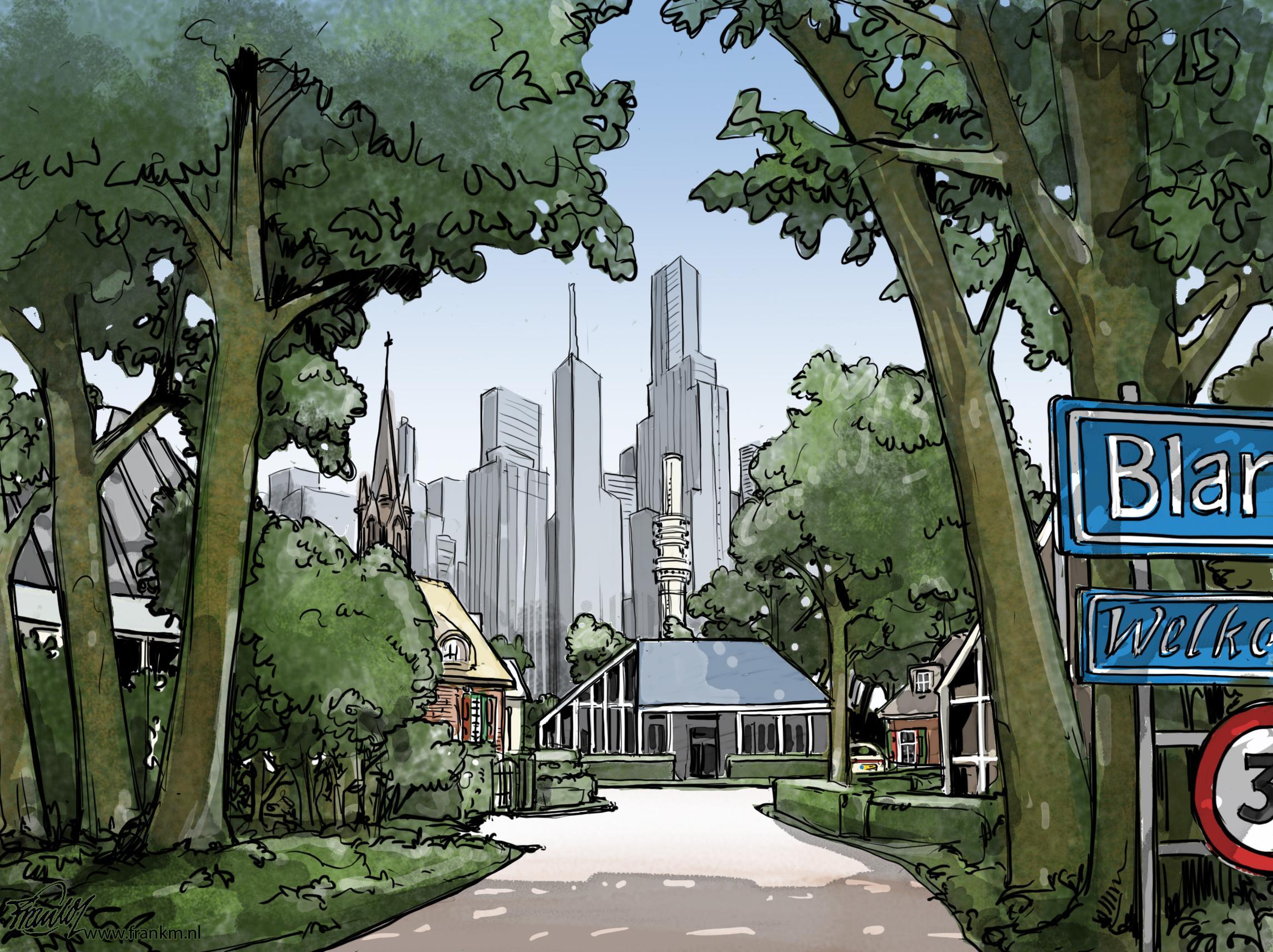 De nieuwe tactiek van Hilversum. Oftewel: welkom in het fraaie Blaricum van 2040! | Cartoon Frank Muntjewerf