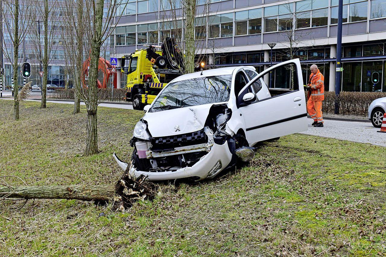 Automobilist vliegt uit bocht in Hoofddorp en rijdt boom uit de grond, crash voorkomt dat hij te water raakt