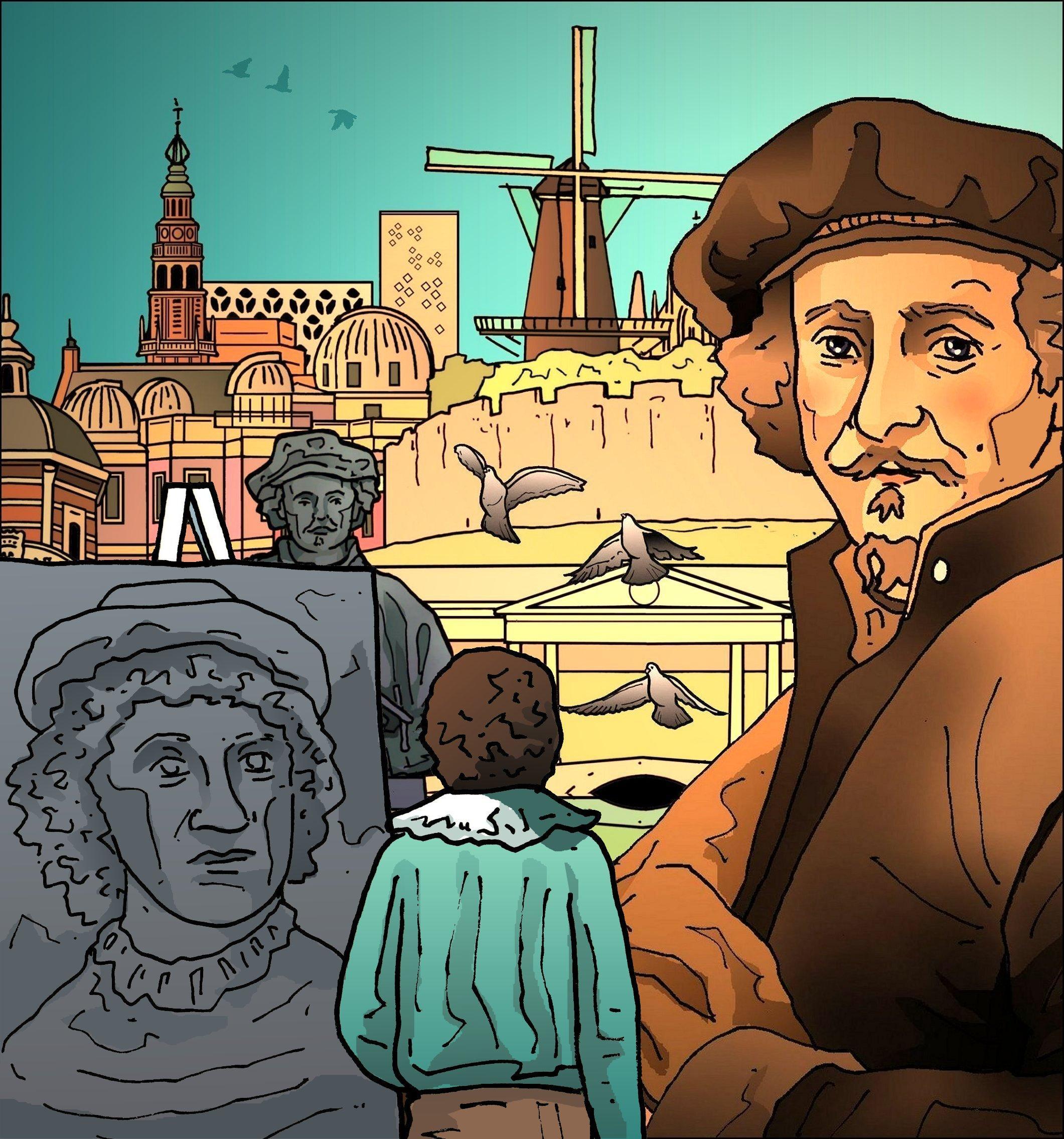 Het kan geen enkele voorbijganger meer ontgaan wie hier geboren is: Rembrandt, Rembrandt, Rembrandt   Leiden in klare lijn