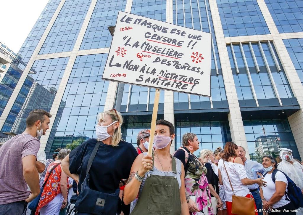 Honderden betogers van Belgische Viruswaanzin in Brussel