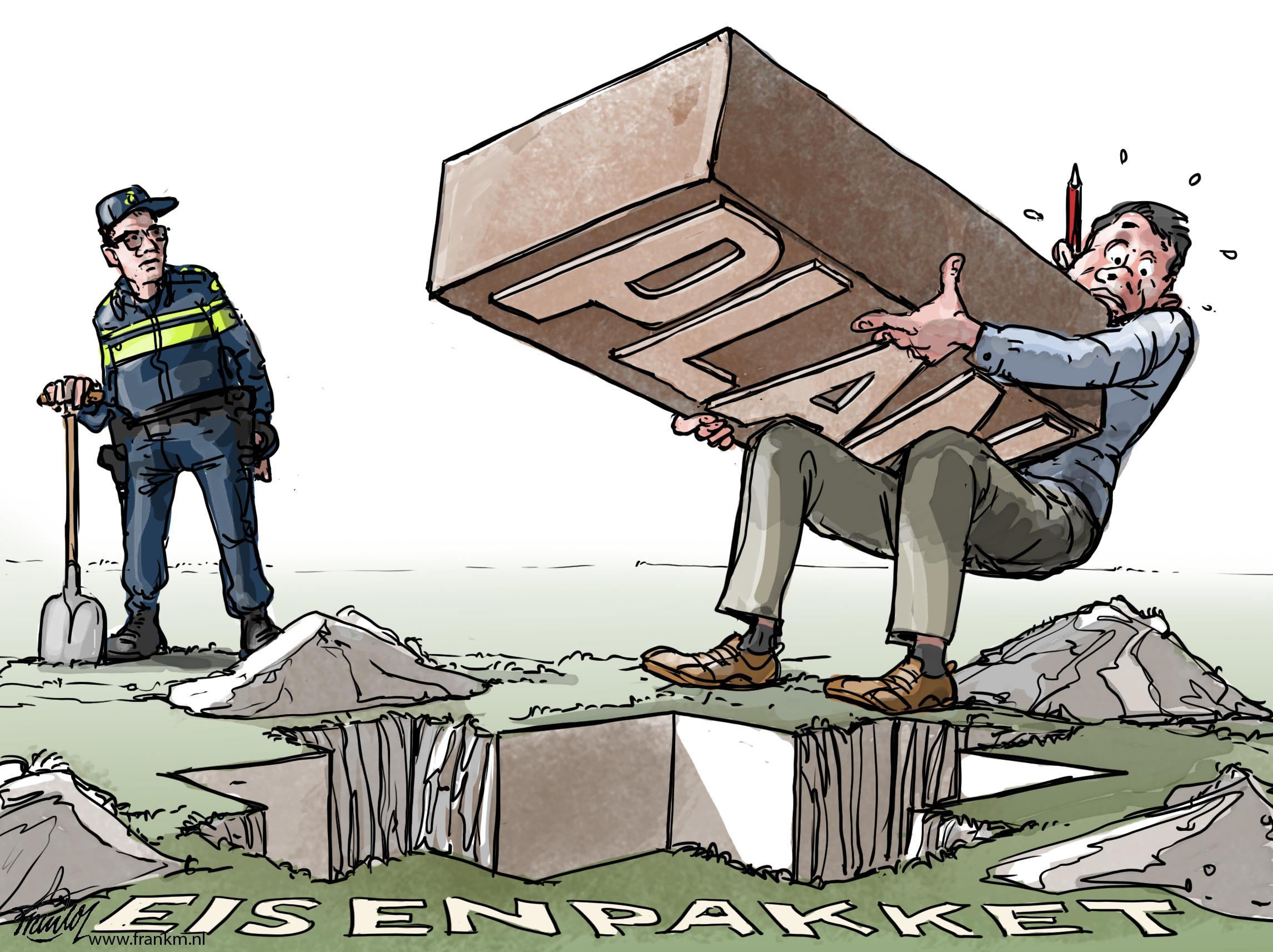 Cartoon Muntjewerf: Toch nog even wat langer puzzelen op het nieuwe politiebureau in Hilversum