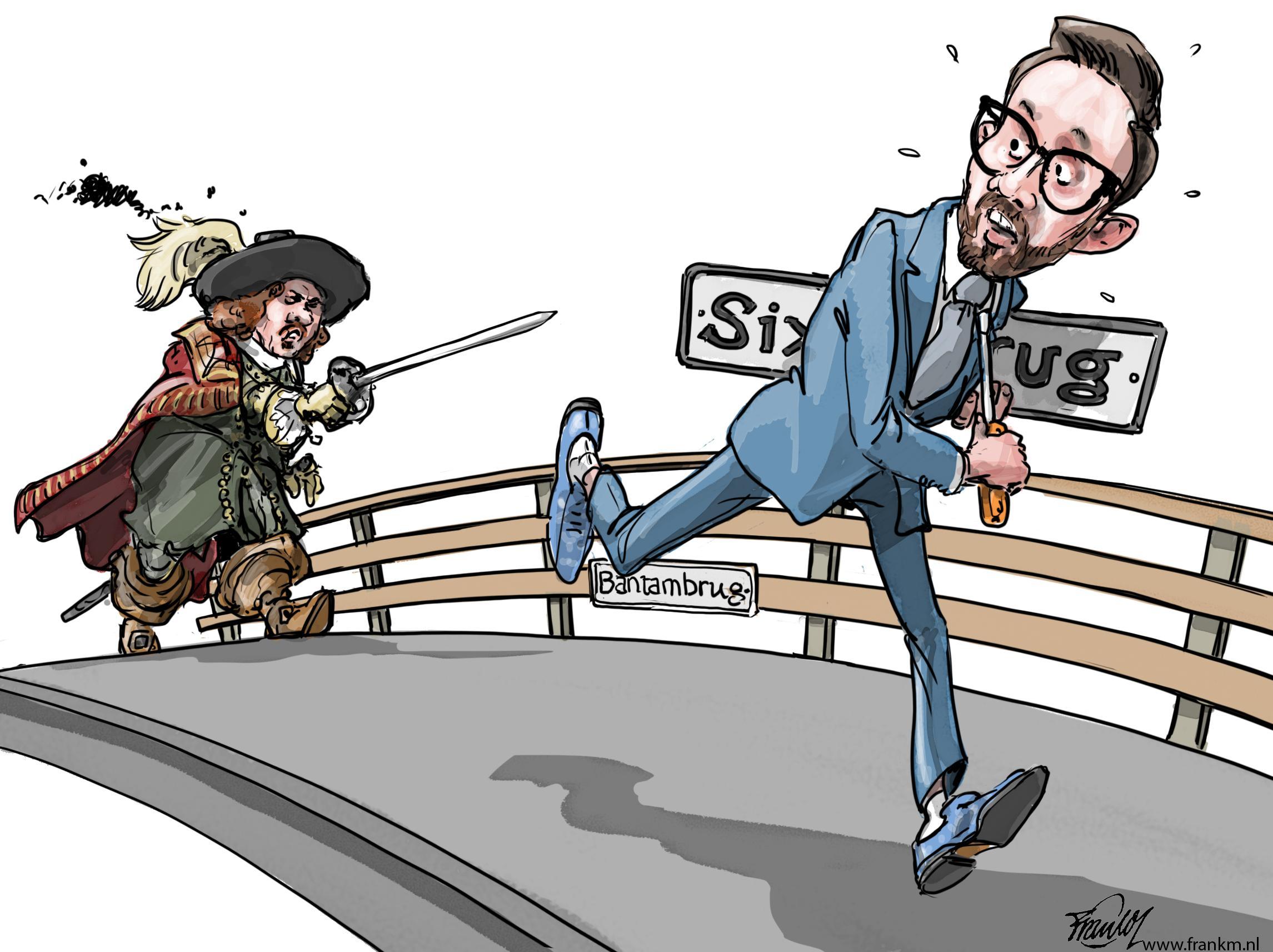 Zo levert de niet-Sixbrug na een briljante verdachtmaking nog een heuse rel op | cartoon Frank Muntjewerf