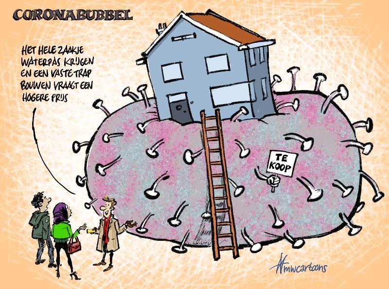 Cartoon Maarten Wolterink: Coronabubbel