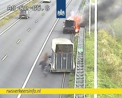 Terreinwagen met paardentrailer vliegt in brand op A9 bij Akersloot: inzittenden weten trailer op tijd los te koppelen en paard in veiligheid te brengen