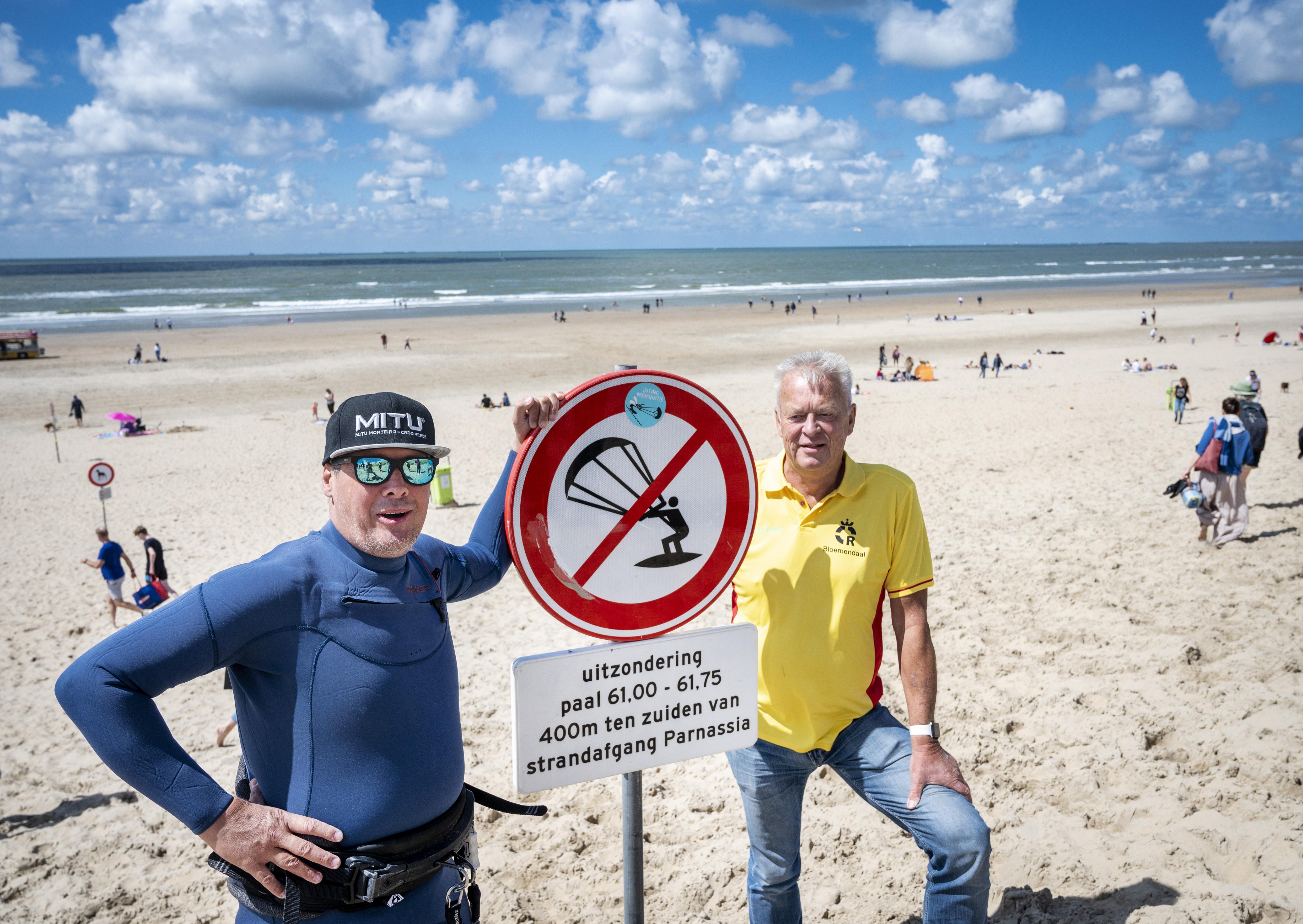 Het Bloemendaalse en Zandvoortse strand: waar kunnen de kitesurfers terecht?