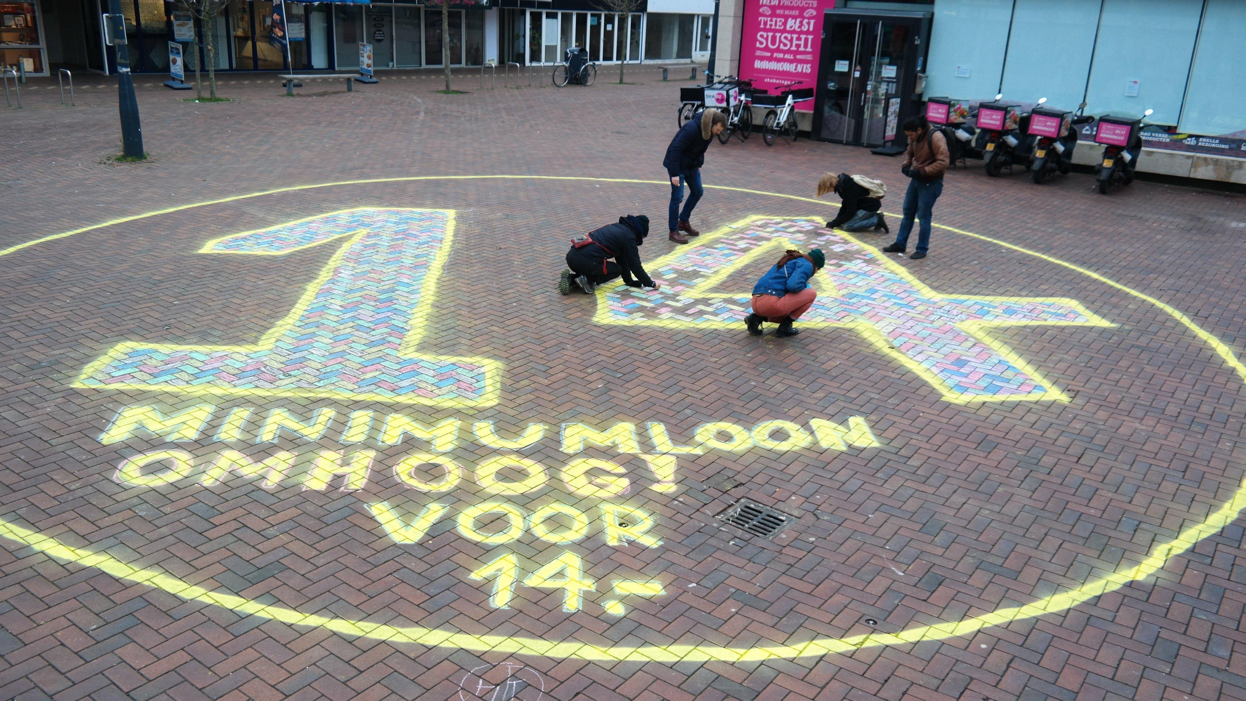 Actiegroep Leiden Voor14 weer actief bij AH Bevrijdingsplein