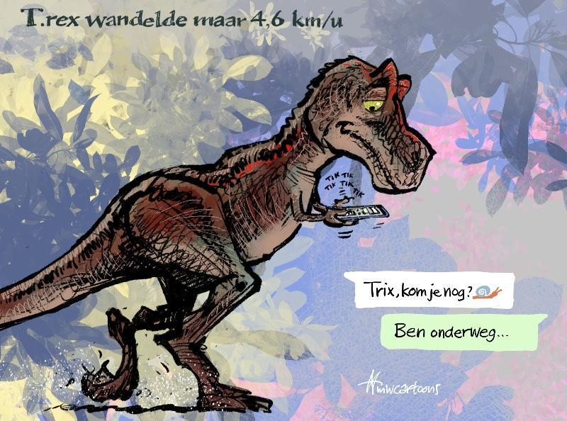 Cartoon van Maarten Wolterink: T.rex langzamer dan gedacht