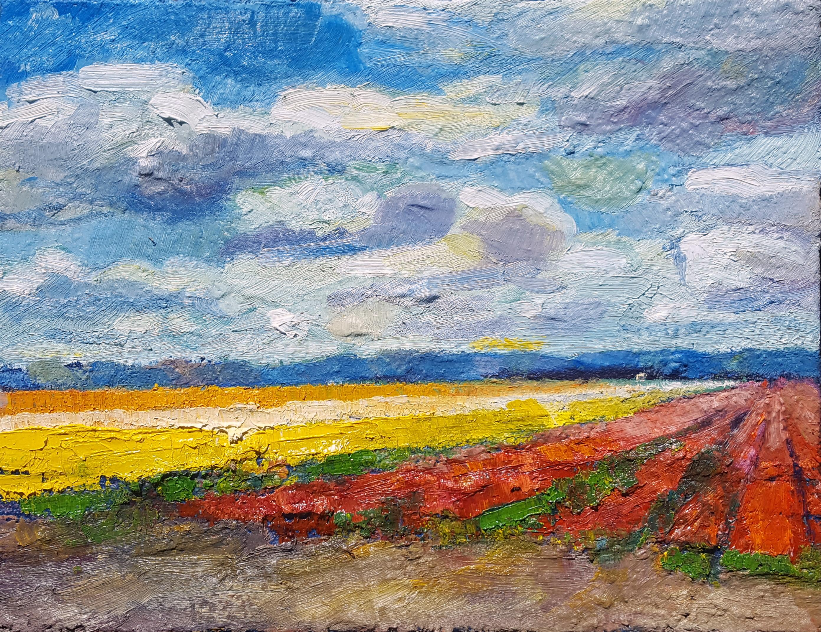 Peter Kempeneers schildert de warme gloed van de bollenvelden. 'De omgeving spreekt mij enorm aan'