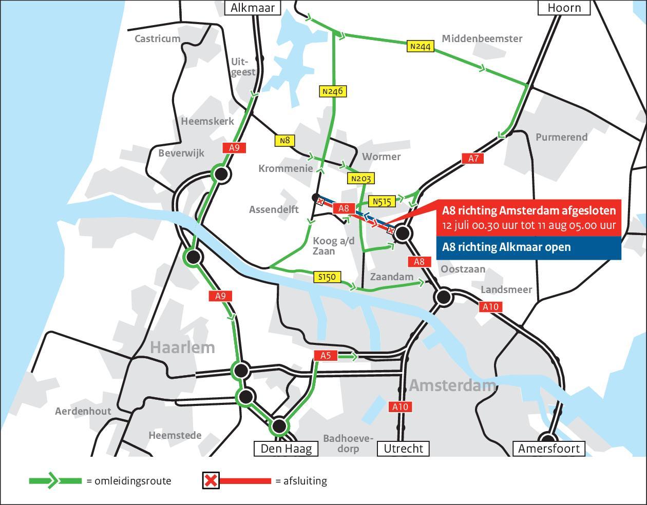 A8 van Assendelft tot Zaandam gaat een maand dicht. Omrijden en geluidsoverlast voor omwonenden