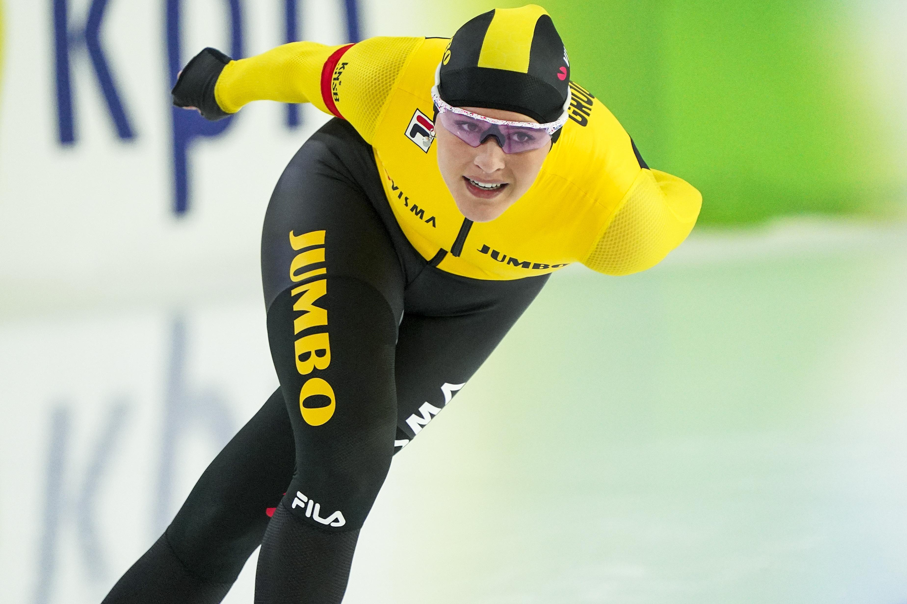 Viervoudig juniorenwereldkampioene Robin Groot veertiende op NK allround:'Ik hoef nu nog niet de beste te zijn bij de senioren, ik mag daar best een paar jaar de tijd voor nemen'