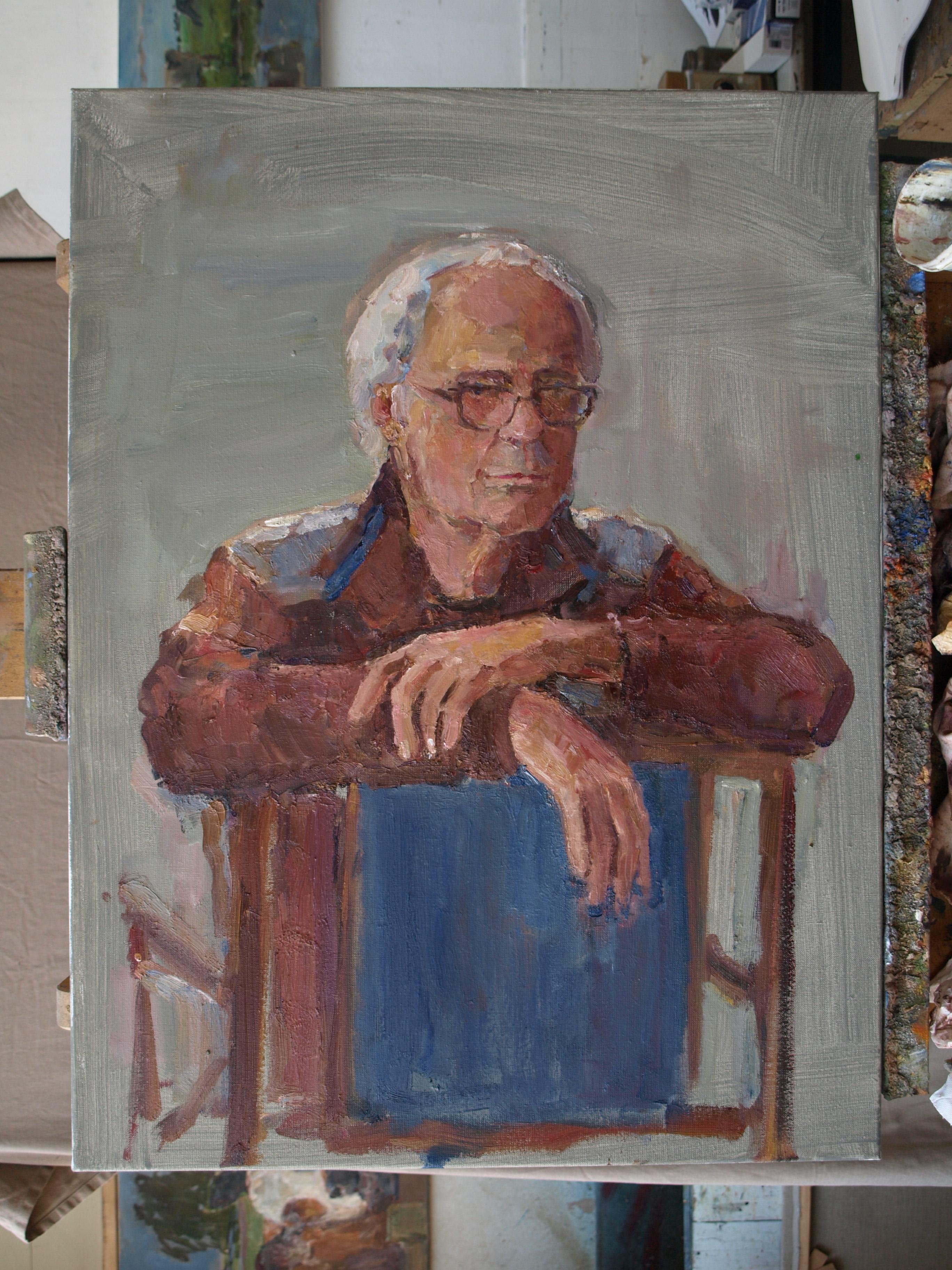 Beeldend kunstenaar Peter de Rijcke op canvas door Koeienkunstenaar Ruud Spil