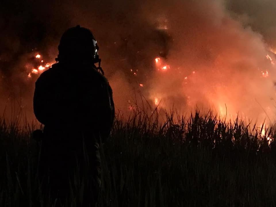 Grote rietbrand in Noord-Scharwoude, brandweerkorpsen uit Schoorl, Koedijk, Alkmaar en Warmenhuizen zijn urenlang bezig geweest met bestrijding