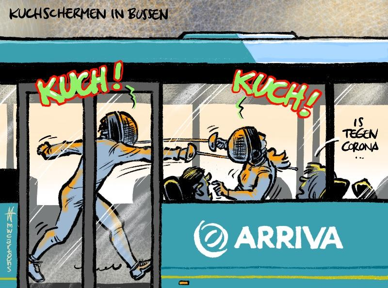 Cartoon Maarten Wolterink: Kuchschermen in Arriva-bussen