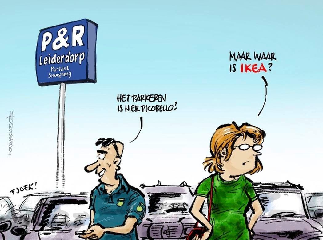 Cartoon: Leiden denkt aan P&R op Ikea-terrein Leiderdorp
