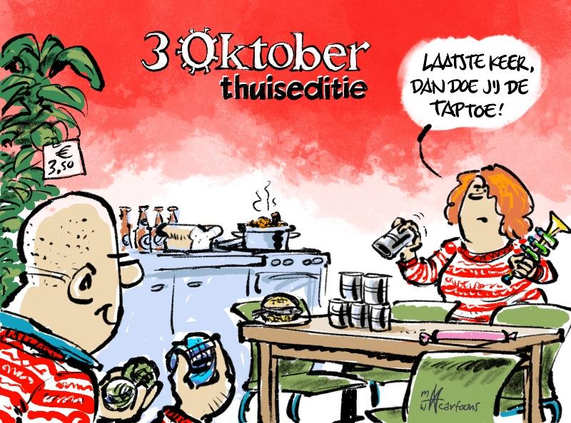 Cartoon Maarten Wolterink: 3 October-thuiseditie