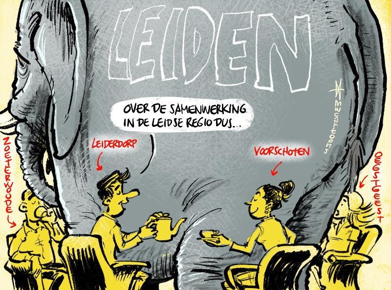 Cartoon Maarten Wolterink: Leiderdorp steekt hand uit naar de buren