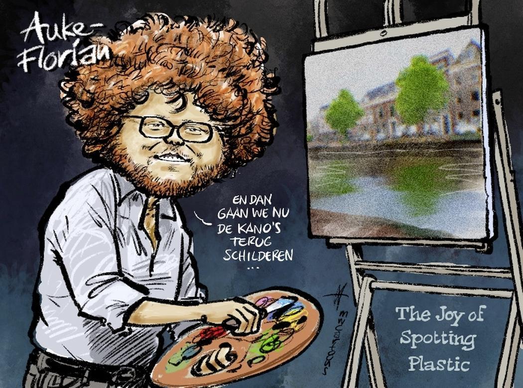 Cartoon: Leidse Plastic Spotters-kano's mogen toch blijven
