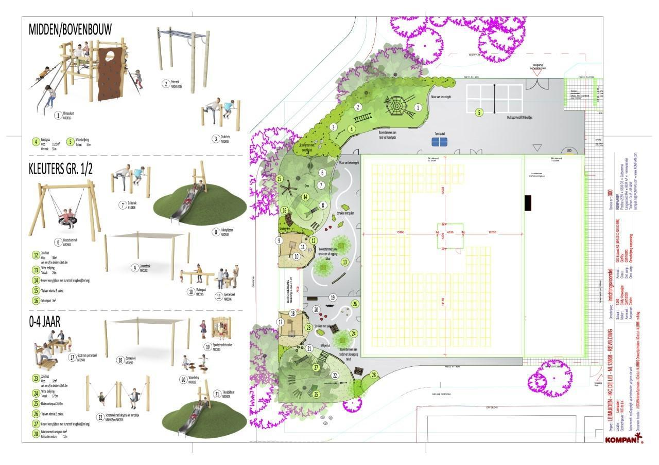Wordt het schoolplein van IKC in Leimuiden meteen al spannend en groen?