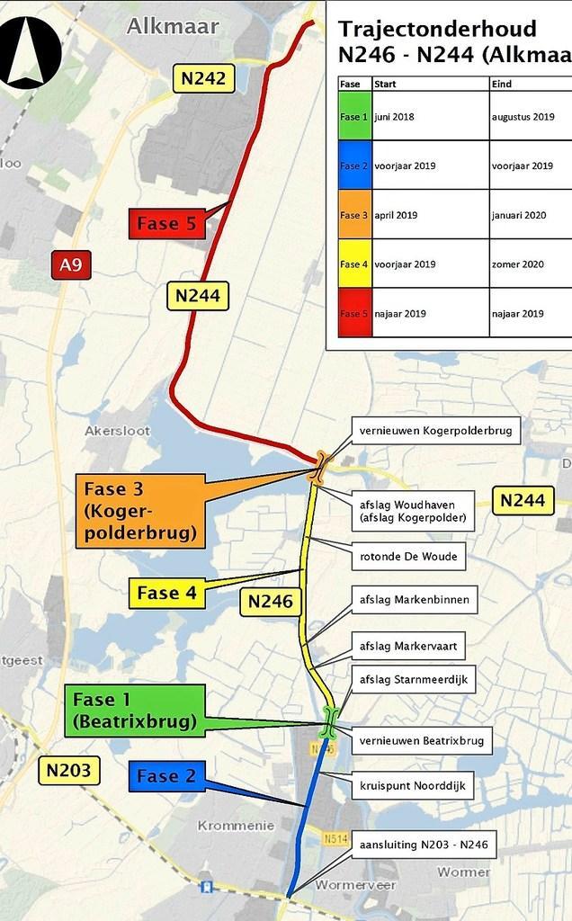 In de herfstvakantie is de weg tussen Alkmaar en de Kogerpolderbrug in beide richtingen afgesloten