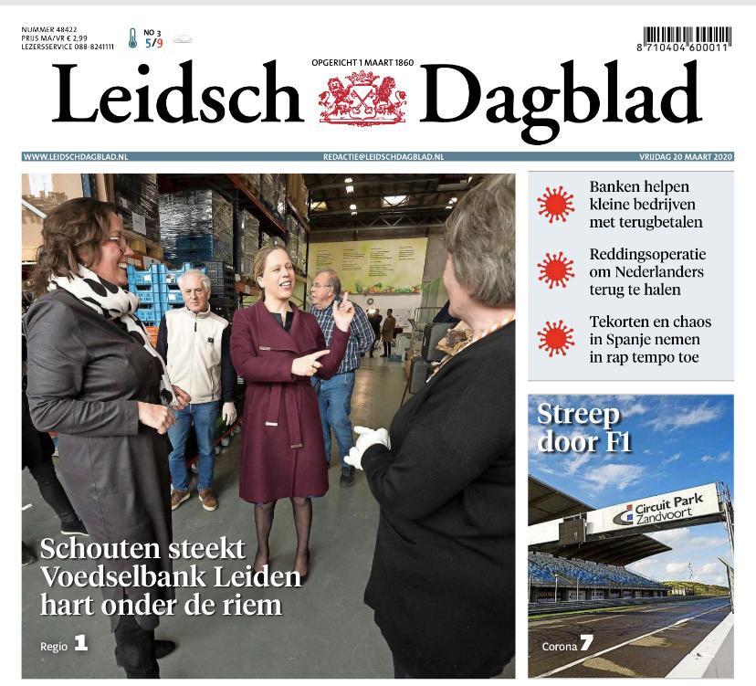 Leidsch Dagblad van vrijdag niet bezorgd