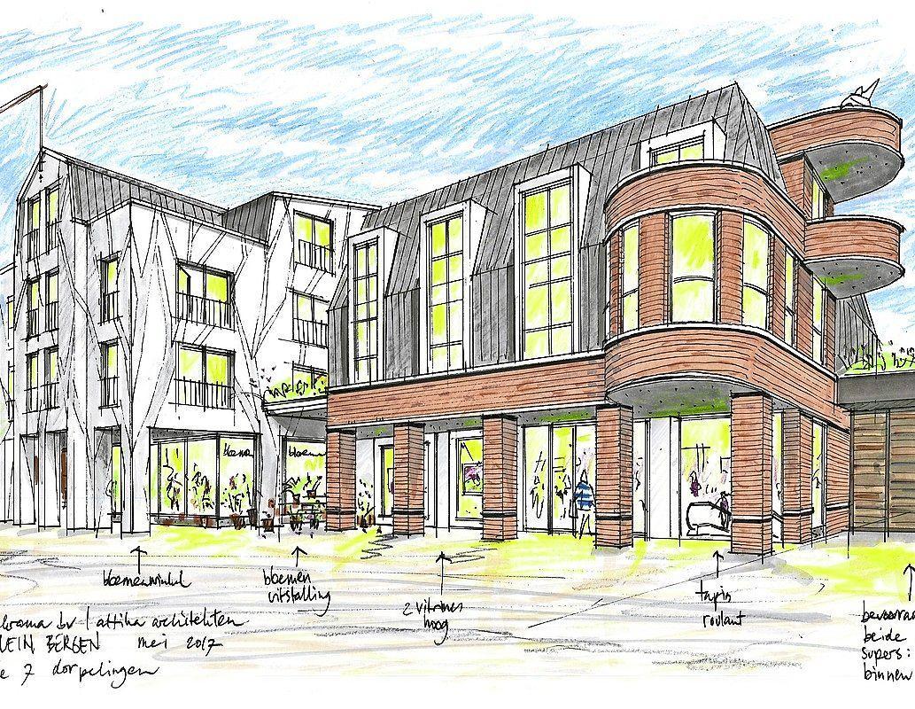 Nieuw plan voor de Harmonielocatie in het centrum van Bergen: kleine winkels, woningen, maatschappelijke gebouwen en een parkeergarage
