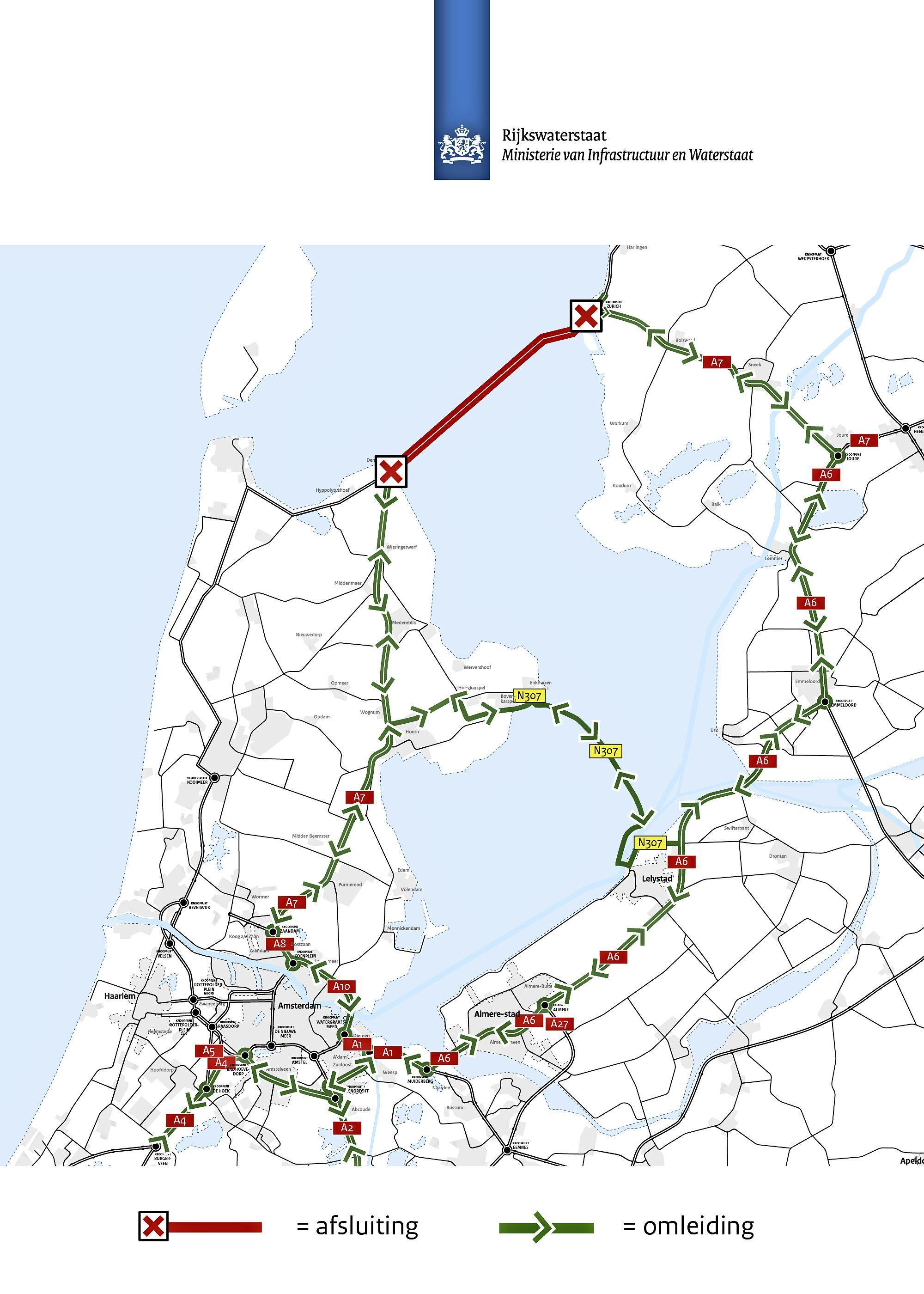 Zaterdagnacht over de Afsluitdijk? Houd dan rekening met anderhalf uur vertraging