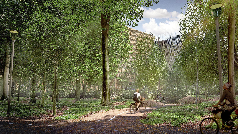 Bouw parkeergarage Tergooi Hilversum start eind dit jaar. Auto's stijgen en dalen via wokkels aan de buitenzijde